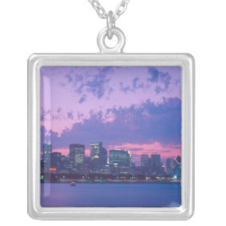 North America, USA, IL. Chicago skyline at dusk Silver Plated Necklace
