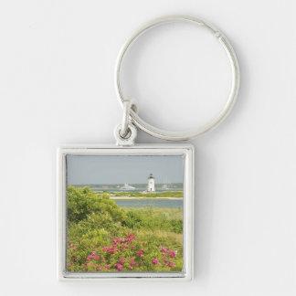 North America, USA, Massachusetts, Martha's Silver-Colored Square Keychain
