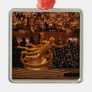 North America, USA, New York, New York City. 6 Square Metal Christmas Ornament