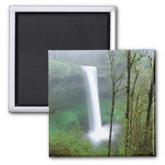 North America, USA, Oregon, Silver Falls State 2 Inch Square Magnet