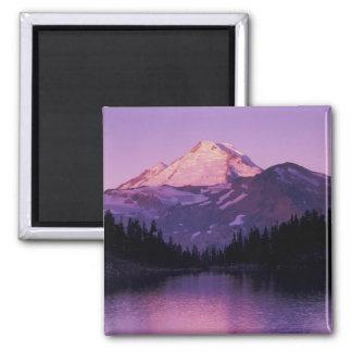 North America, USA, Washington, Mount Baker 2 Inch Square Magnet