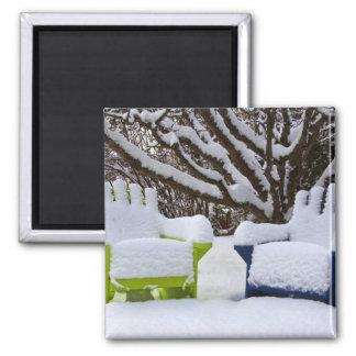 North America, USA, Washington, Seattle, Snow 3 2 Inch Square Magnet