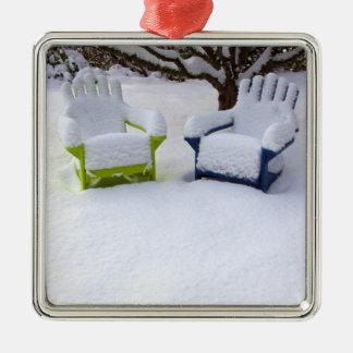 North America, USA, Washington, Seattle, Snow Square Metal Christmas Ornament