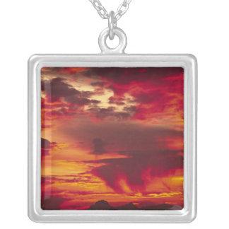 North America, USA, Washington, Seattle. Sunrise Square Pendant Necklace