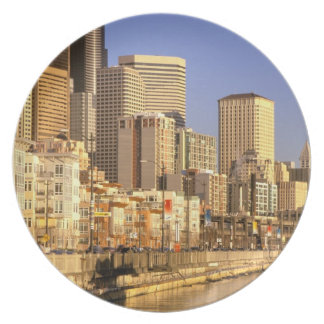 North America, USA, Washington State, Seattle. 4 Melamine Plate