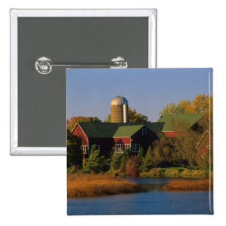 North America, USA, Wisconsin. Red Barn in 2 Inch Square Button