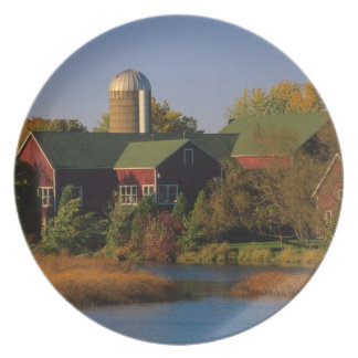 North America, USA, Wisconsin. Red Barn in Plates