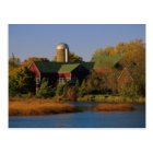 North America, USA, Wisconsin. Red Barn in Postcard