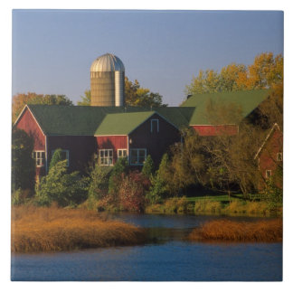 North America, USA, Wisconsin. Red Barn in Tile