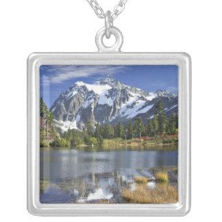 North America, Washington, Cascades. Mt. Shuksan Square Pendant Necklace