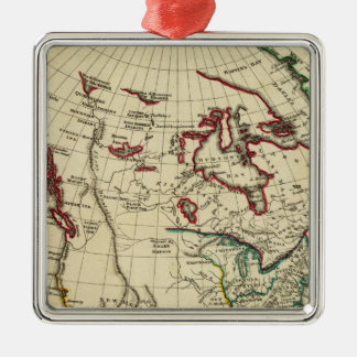 North America with boundaries outlined Square Metal Christmas Ornament