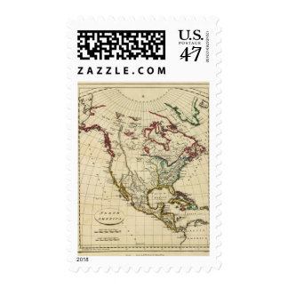 North America with boundaries outlined Postage