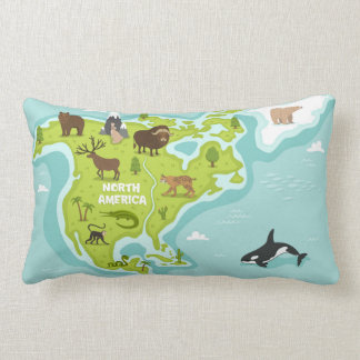 North American Animal & Plant Map Lumbar Pillow