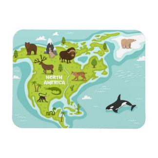 North American Animal & Plant Map Magnet