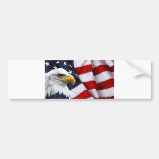 North American Bald Eagle on American flag Bumper Sticker