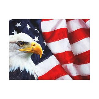 North American Bald Eagle on American flag Canvas Print