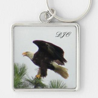 North American Bald Eagle Posing on Pine Tree Keychain