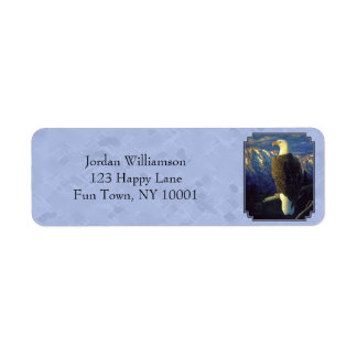 North American Bald Eagle Sky Blue Label
