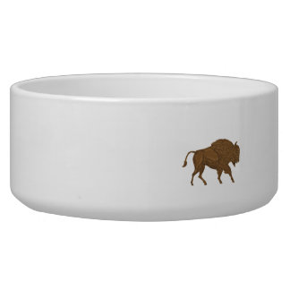 North American Bison Buffalo Charging Retro Bowl