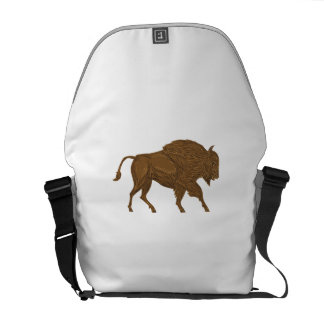 North American Bison Buffalo Charging Retro Courier Bag