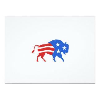 North American Bison USA Flag Retro Card