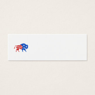 North American Bison USA Flag Retro Mini Business Card