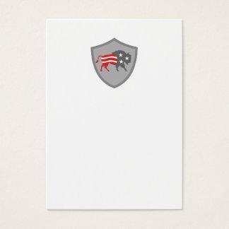 North American Bison USA Flag Shield Retro Business Card