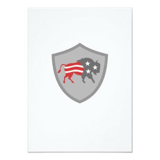 North American Bison USA Flag Shield Retro Card