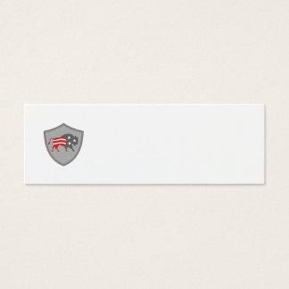 North American Bison USA Flag Shield Retro Mini Business Card