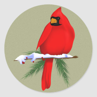 North American Cardinal Classic Round Sticker