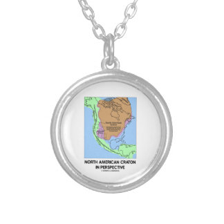 North American Craton In Perspective Round Pendant Necklace