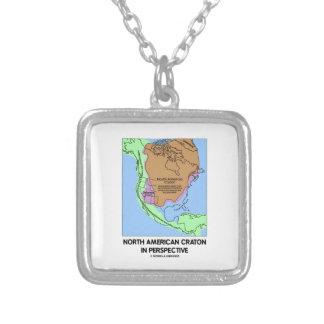 North American Craton In Perspective Square Pendant Necklace