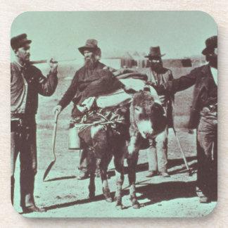 North American gold diggers, c.1849 (b/w photo) Beverage Coaster