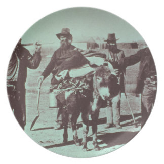 North American gold diggers, c.1849 (b/w photo) Melamine Plate