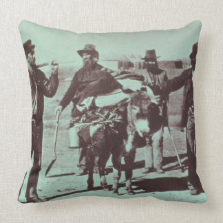 North American gold diggers, c.1849 (b/w photo) Pillow