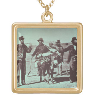 North American gold diggers, c.1849 (b/w photo) Square Pendant Necklace
