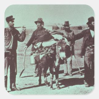 North American gold diggers, c.1849 (b/w photo) Square Sticker