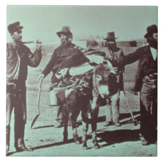 North American gold diggers, c.1849 (b/w photo) Tile