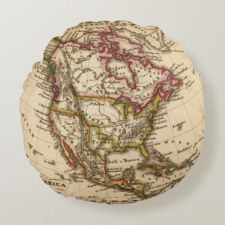 North American Map 2 Round Pillow