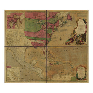 North American Map by Emanuel Bowen (1755) Poster