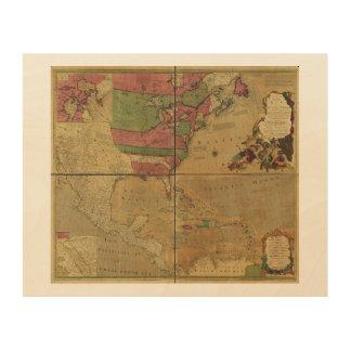 North American Map by Emanuel Bowen (1755) Wood Wall Art