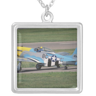 North American P-51 D Dazzling Donna on the Square Pendant Necklace