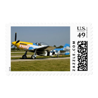 North American P-51 D Stang on the runway Postage