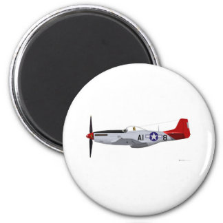 North American P-51D MustangTuskegee Airmen 2 Inch Round Magnet