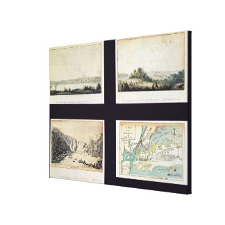 North American Scenes and a map of New York Canvas Print