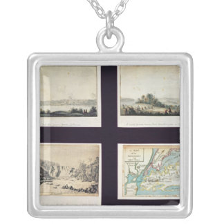 North American Scenes and a map of New York Square Pendant Necklace