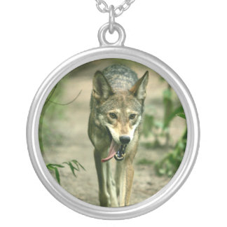 North American Sly Red Wolf Round Pendant Necklace