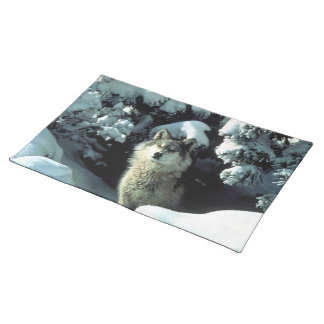 North American Timber Wolf in Snow Cloth Place Mat