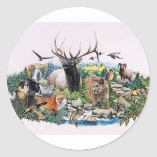 North American Wildlife Round Stickers