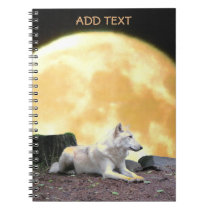 North American Wolf Against Full Moon Notebook